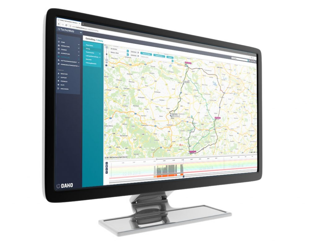 Monitor mit Screenshot TachoWeb Telematics