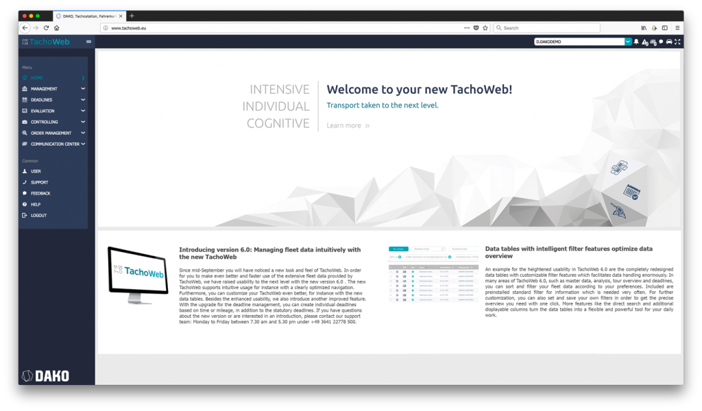 Screenshot TachoWeb 6.0 home page